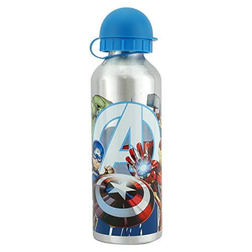 HOVUK Botella de agua deportiva para niños de 500 ml o 17 onzas, hecha de aluminio con estampado de personajes vengadores, color plateado
