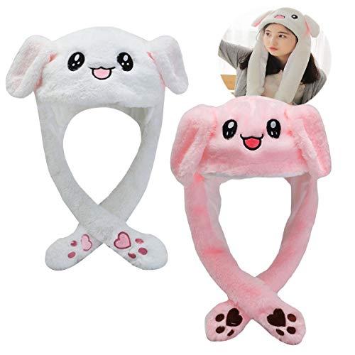 Osuter 2PCS Orejas de Conejo Peluche Lindo Sombrero Conejo Gorro de Divertido Portátil para Mujer Complementos de Vestir
