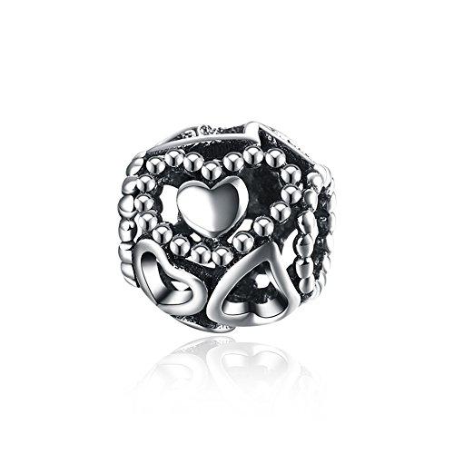 NYKKOLA - Ciondolo a forma di cuore, in argento Sterling 925, compatibile con braccialetti Pandora