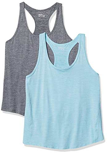 Jockey 2 Pack Racer Back Tank Camiseta Cami, Deep Black Heather/Aqua Breeze Heather, S para Mujer
