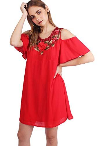 Vestido Con Aplicacion Bordada LORENA/2 Rojo – Rojo – m
