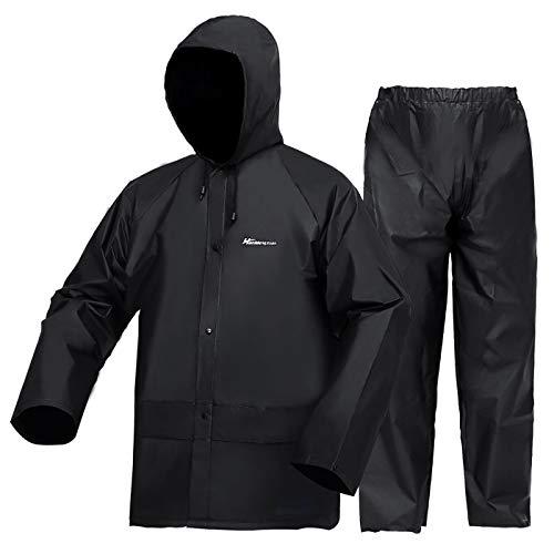 Rain Suits (Jacket + Pants) ,EVA Ultra-Lite Waterproof Protective Rain coats Rain Gear Workwear Fits Men Women(Black,XX-Large)