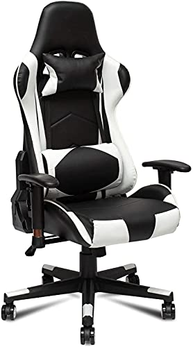 Gtracing Chair Gaming, Silla para Juegos Silla giratoria para Juegos Ajustable con Masaje para Adultos, Silla de Escritorio reclinable para Juegos con reposacabezas y Almohada Lumbar