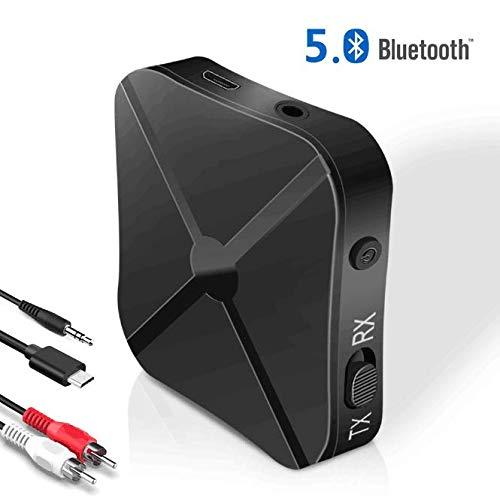 Receptor Bluetooth 5.0 Transmisor Bluetooth 2 en 1 Adaptador Audio Bluetooth para PC, TV, Cascos, Smartphone, Tablet, RCA & 3.5mm AUX, Audio HD Baja Latencia Audio Estéreo
