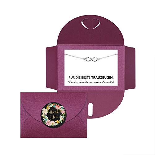 Lillyville - Trauzeugin Geschenk mit Infinity Armband Silber und Karte - Für die Beste Trauzeugin - Hochzeit Armkette - Umschlag Bordeaux