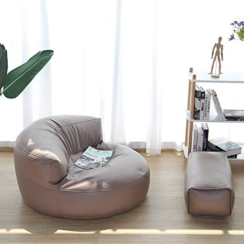 WUJNFAJFA Ledertuch Sitzsack Sofa ohne Kissen Einzelsofa Stuhl Fußhocker Hocker Boden Sitz Ecke faul Sofa Balkon Tatami Kissen Hocker, Kaffee, Set 02