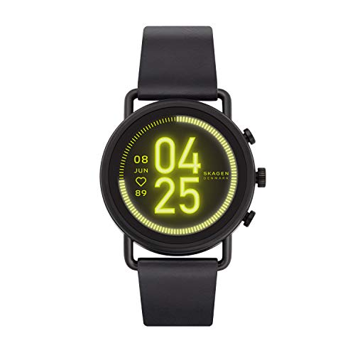 Skagen Connected Falster 3 Gen 5 Stainless Steel and Leather Touchscreen Smartwatch, Color: Black (Model: SKT5206)