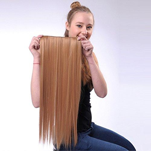 Bureze 1pièce Clips synthétiques Long Clip droite en Extensions de perruque de cheveux Postiche pour femme 60 cm