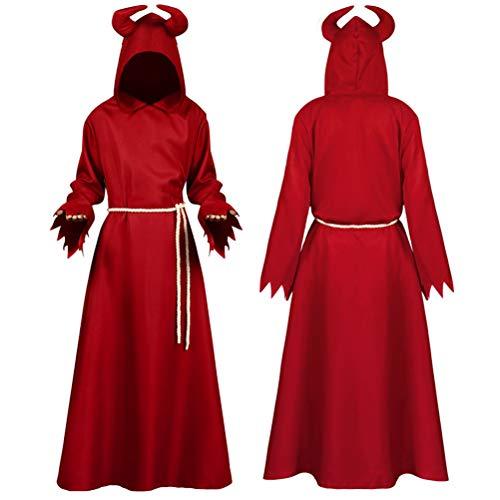 KUTO Disfraz de Carnaval de Halloween, Disfraz de Dios de La Muerte Capa Capa Diablo Vampiro Disfraz Medieval Manto Fantasma Rojo Disfraz de Cosplay para Actuar Juegos de rol Vestimenta Halloween,M