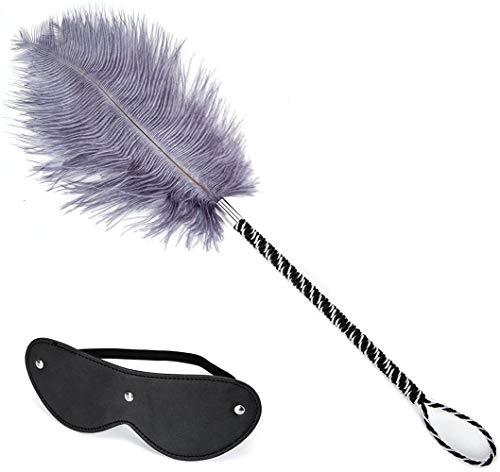 Huangte Toys Leather Blindfold Set Feather Teaser Tickler Feather for Women Men Pink, Balck, Adjustable Cosplay Props HY0017