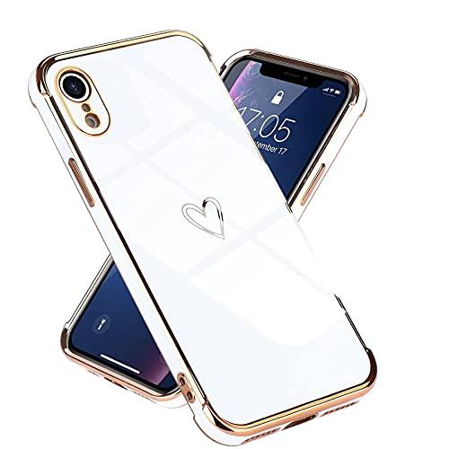 Micoden Kompatibel mit iPhone Xr Hülle,Cute Herz Mädchen Weich Silikon TPU Galvanisierte Handyhülle Ultra Dünn Stoßfeste Schutzhülle Bumper Hülle für Apple iPhone Xr,Weiß