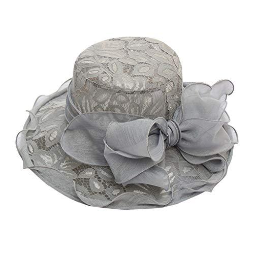 Fascinator Schwarz Hut Dasongff Damen Sommer Hut Elegante Blumen Organzahut Sonnenhüte mit Blumen Breite Krempe Strandhut Damenhut für Hochzeit Kirche Party