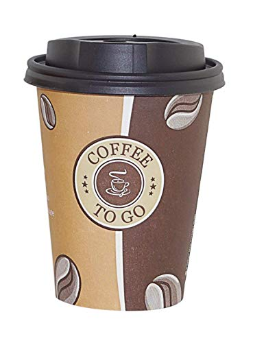 Gastro-Bedarf-Gutheil 50 Pappbecher Einwegbecher Coffee to go 0,3 L Top Becher mit 50 Deckel in Schwarz Ideal für Coffee Latte Machiato Cappuccino Chocolate Tea Cream