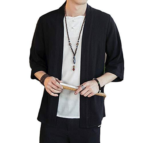 GladiolusA Chaqueta Haori Cárdigan Kimono Japón Capa Abrigo Corto para Hombres Negro M