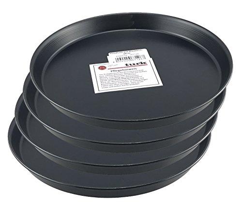 Pizzablech / Pizzaform / Pizza-Backblech, rund, unbeschichtet, für Steinofen geeignet, hitzefest bis 400°, Gastronomie geeignet, aus Blaublech geschmiedet von Turk, 4er Set (Durchmesser: 26cm)