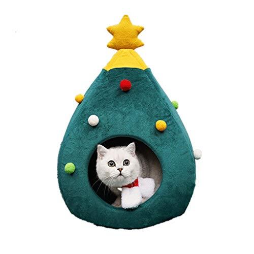 Weihnachten Katzenbett katzenhöhle Design des Weihnachtsbaums, sowohl süß als auch lustig, und EIN gutes Geschenk für die Katze. (48 * 40 * 40 cm, Grün)