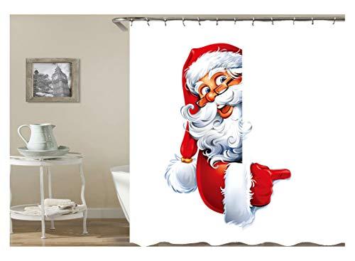 Aeici Duschvorhang Weihnachtsthema Weihnachtsmann Badvorhang mit Duschvorhangringen Polyester Bad Vorhang Bunt 120X180Cm
