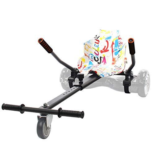 Leogreen Hover Kart Hoverboard, Adecuado para patinetes Auto balanceados de 6,5, 8, y 10 Pulgadas, Estructura Negra con Asiento Graffiti, Largo Ajustable para Adultos y Niños