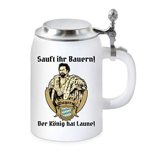 KMC-Austria Design Bierkrug mit Flachdeckel - Bayern - Sauft Ihr Bauern der König hat Laune