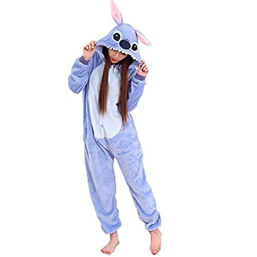 Swanka Pijama Stitch Onesie Disfraz Traje Adulto Mujer Animale Invierno Kigurumi Cosplay Halloween y Navidad(Azul Stitch, M)