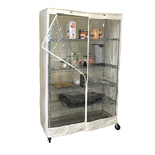 Storage Shelving unit cover Off White, fits racks 48'W x 18'D x 72'H one side see through panel (cover only)
