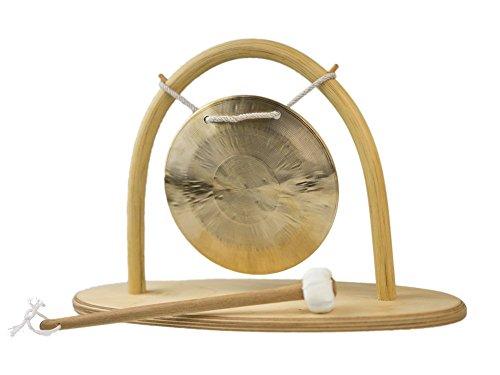 Gong-Set Feng Gong/Wind Gong Ø 15 cm, inklusiv Gongständer und Holz-/ Baumwollklöppel -7190-L-