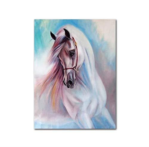 Knncch Nordic Animal Art Poster Und Drucke Minimalistisches Weißes Pferdegemälde Wandgemälde Wanddekoration,40X60Cm