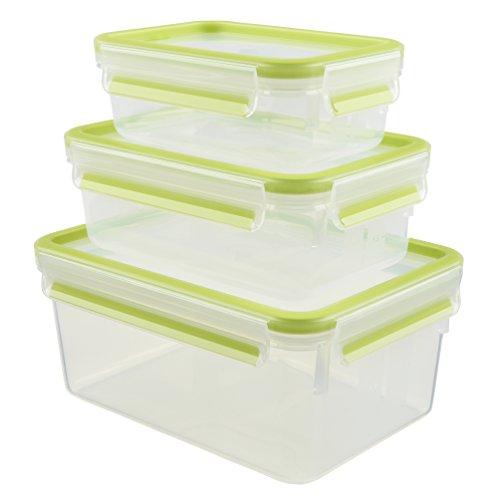 Emsa 515585 Food Clip & Close, Plastik, Transparent / Grün, 0,55 / 1 / 2,2 Liter, Set mit 3 Boxen