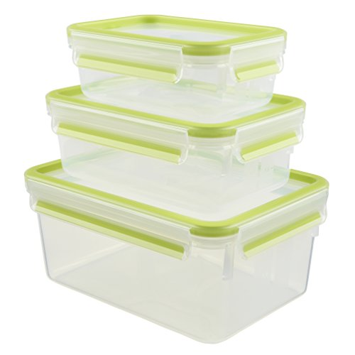 Emsa 515585 Food Clip & Close, Plastik, Transparent / Grün, 0,55 / 1 / 2,3 Liter, Set mit 3 Boxen