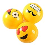 Fun Central 12 Packs - 12 Inches Inflatable Emoji Beach Balls Party Favors for Kids & Adults - Assorted Pack