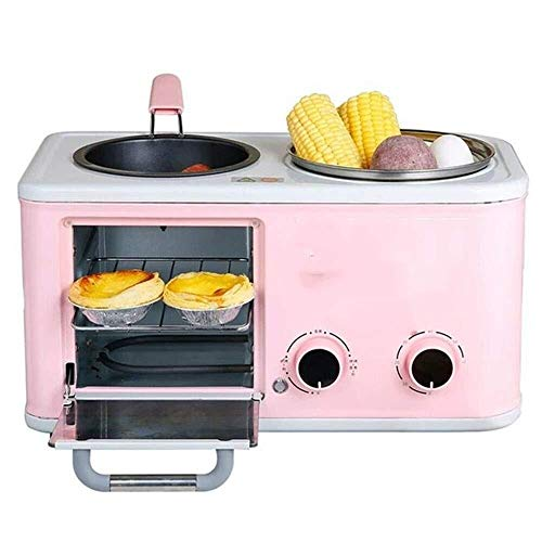 VIWIV Toastie Maker Breakfast Maker Toaster Multifunctional Breakfast Machine Four in One Toaster Household Toast Sandwich Machine Breakfast Station (Color : Pink, Size : 38.5x20.5x29CM)