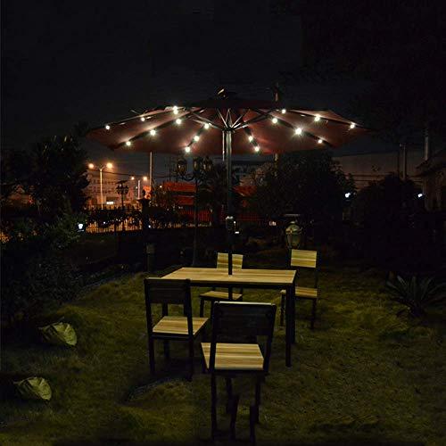 FGVBC Paraguas de Patio de 10 pies, Luces LED solares, Paraguas de Mesa para Exteriores a Prueba de Agua con botón de inclinación y Crankrk, Parasol para Exteriores, Parasol portátil