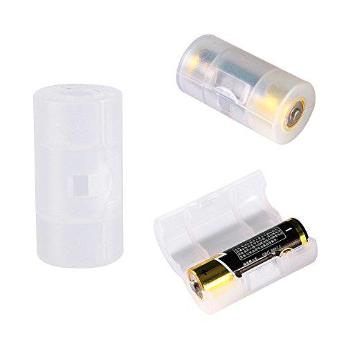 Diyeeni 4 STK Batterie Adapter, AA/Mignon auf C/Baby Konverter Switcher, C Size Batterie Aufbewahrungsbox, Weiß/Milchig