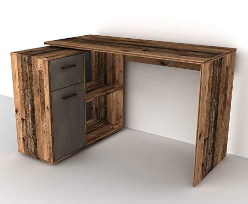 FMD 360-001 Albrecht Old Style Dunkel/Stahl dunkel Schreibtisch PC Tisch Bürotisch Arbeitstisch