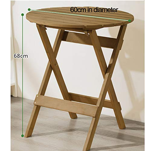 Table pliante en bois massif, table de chevet, petite table à manger portable pliante, table de pique-nique en plein air et chaise table ronde maison 600 * 680 mm, tabouret carré 360 * 330 * 435 mm