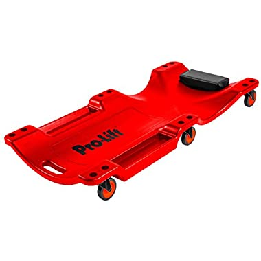 Pro-Lift Mechanic Plastic Creeper 40 Inch - Blow Molded Ergonomic HDPE Body with Padded Headrest & Dual Tool Trays - 350 Lbs Capacity Red