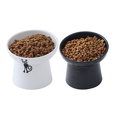 Ceramic Raised Cat Bowls, Tilted Elevated Cat Food and Water Bowls Set, Porcelain Stress Free Pet Feeder Bowl Dish for Cats and Small Dogs, Dishwasher and Microwave Safe - Set of 2 (White & Black)