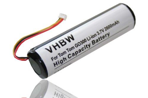 vhbw Extended Li-Ion Akku 2600mAh (3.7V) passend für Navigation, GPS Tomtom Go 300, 400, 500, 510, 600, 700, 710, 910, Go Classic, Rider.