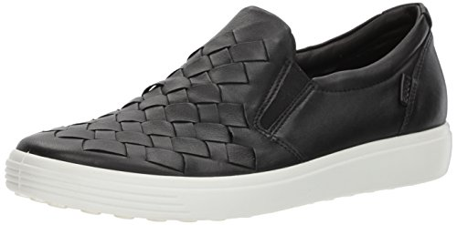 ECCO womens Soft 7 Woven Slip Fashion Sneaker, Black, 8-8.5 US