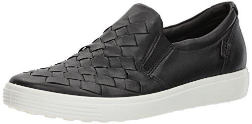 ECCO womens Soft 7 Woven Slip Fashion Sneaker, Black, 7-7.5 US
