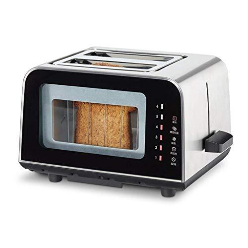 Qingqiasoshangmao 2 tostadores de rebanada, tostadores de pan compactos con 6 ajustes de dorado, carcasa de acero inoxidable, función de cancelación de descongelación de panecillos, 900W para el desay