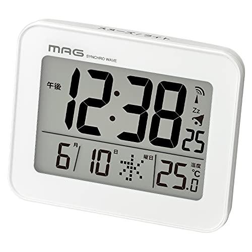 MAG(マグ) 目覚まし時計 電波 デジタル コードロン バックライト スヌーズ機能付き ホワイト T-761WH-Z