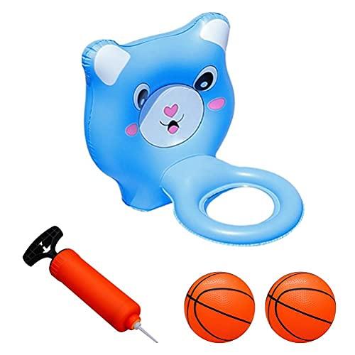 Piscina, baloncesto, voleibol, juegos de agua, aros flotantes con pelota y bomba inflables para deportes acuáticos al aire libre