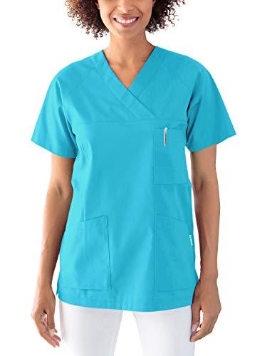 CLINIC DRESS Schlupfkasack Kasack Damen für Krankenpflege und Altenpflege 50% Baumwolle 95 Grad Wäsche türkis M