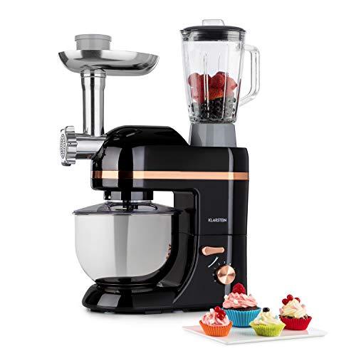 Klarstein Lucia Elegance - Robot de cocina multifunción, Potencia 1300 W, Recipiente de acero inoxidable con 5 L de capacidad, 6 niveles, 3 accesorios de mezcla, Protector contra salpicaduras, Negro