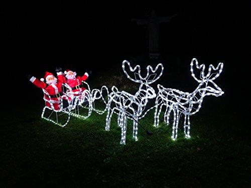XXL 672 LED *Magic* DOPPEL- Rentier+Schlitten+WEIHNACHTSMANN 8 Programme ca. 2 Meter lang +70 cm hoch Premium Set~(2 Rentiere+2 Schlitten+2 Weihnachtsmänner) kaltweiss~IP44~ELCH~NEUHEIT 2020