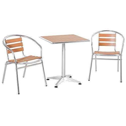 Outsunny Ensemble Bistro de Jardin 3 pièces Style néo-rétro Table carrée et 2 chaises empilables alu. Composite Aspect Bois