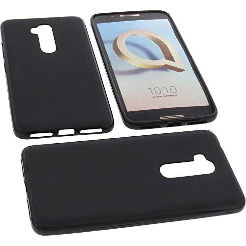 Tasche für Alcatel A7 XL Gummi TPU Schutz Handytasche schwarz