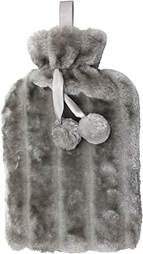 RAM ONLINE Cosy 2 Litre Large Hot Water Bottle with Faux Fur Cover and Pom...