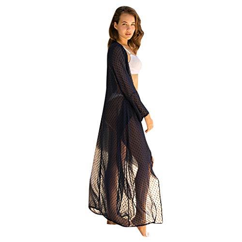 FRAUIT Damen Lange Kleid Badeanzug Strandkleid Sommer Boho Strand Pareos Kleid Mantel Kimono Cardigan Bluse Blumen Tops Bikini Cover Ups Übergroß Strickjacke Outwear
